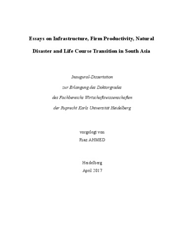 essays on infrastructure firm productivity natural disaster and essays on infrastructure firm productivity natural disaster and life course transition in south asia