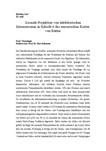 Axonale Projektion von inhibitorischen Interneuronen in Schicht 6 ...