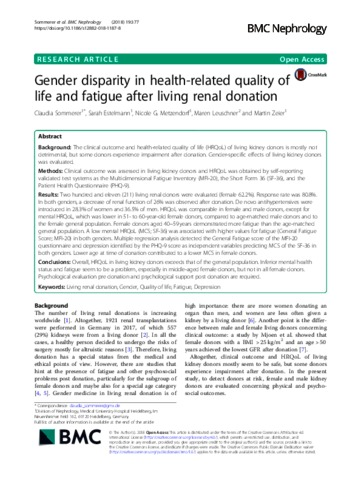 Gender disparity in health-related quality of life and