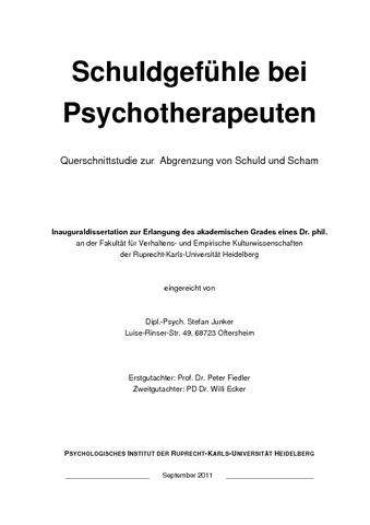 Schuldgefühle bei Psychotherapeuten : Querschnittstudie zur ...