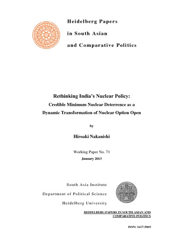 Rethinking India's Nuclear Policy:Credible Minimum Nuclear