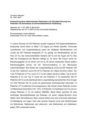 Entwicklung Einer Elektronischen Datenbank Und Charakterisierung Von